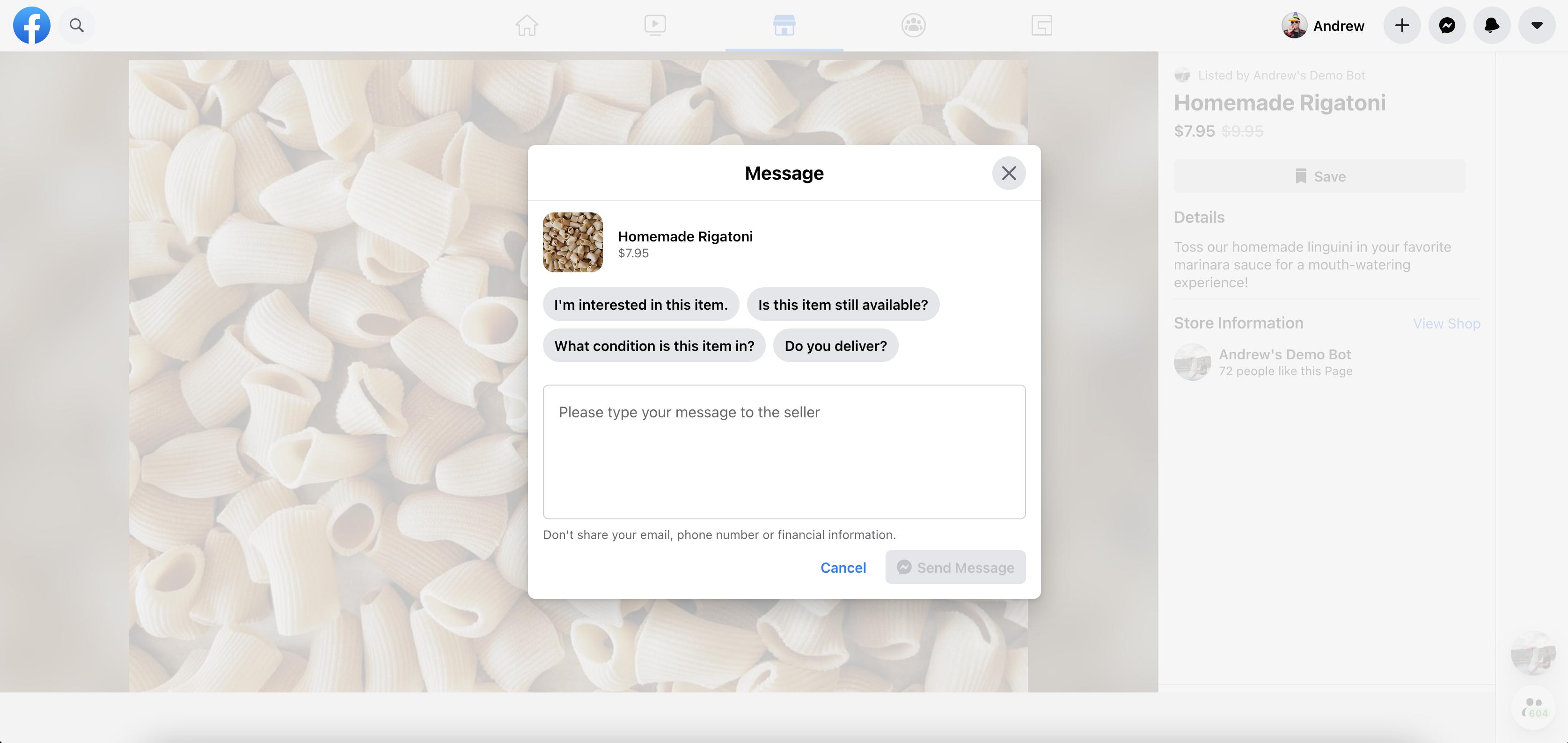 facebook shops message