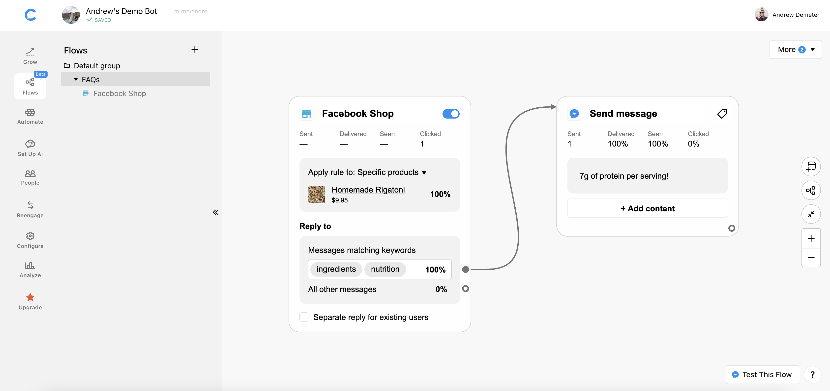 facebook shop chatbot