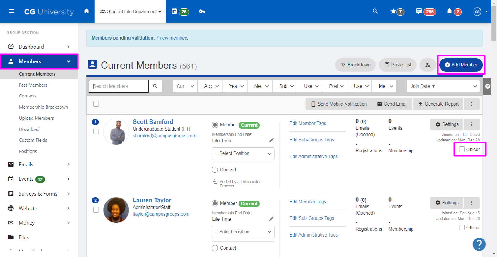 A screenshot highlighting the Officer checkbox on the Members page