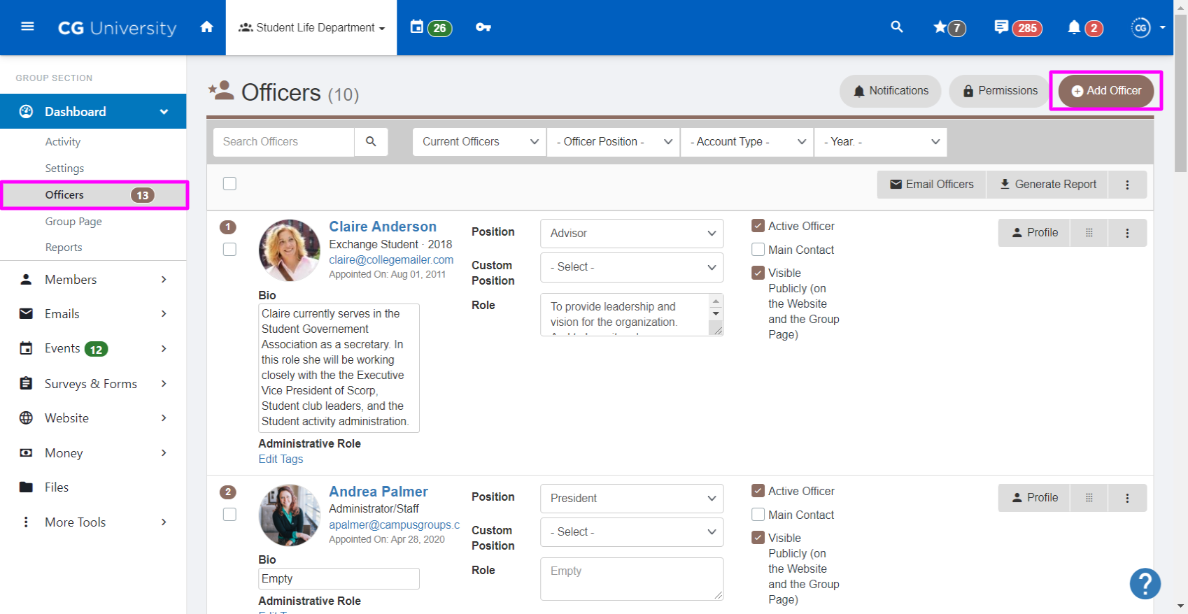 A screenshot highlighting the Add Officer button on the Officers page