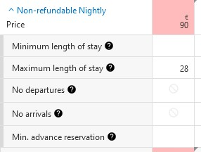 Example of a Booking.com calendar showing some restrictions