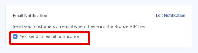 VIP program email notification