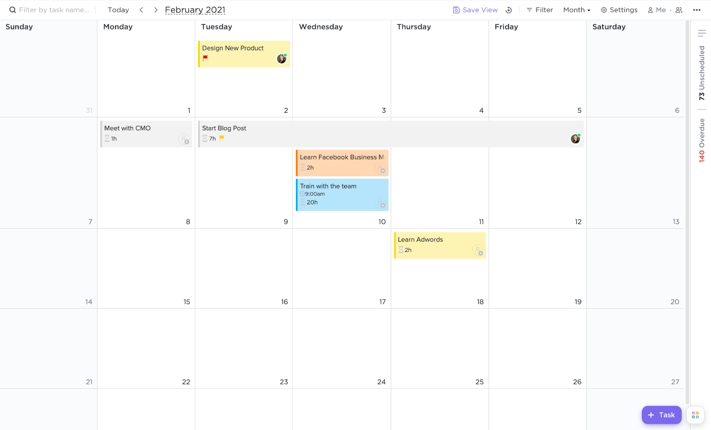 Calendar view before recurring tasks are shown