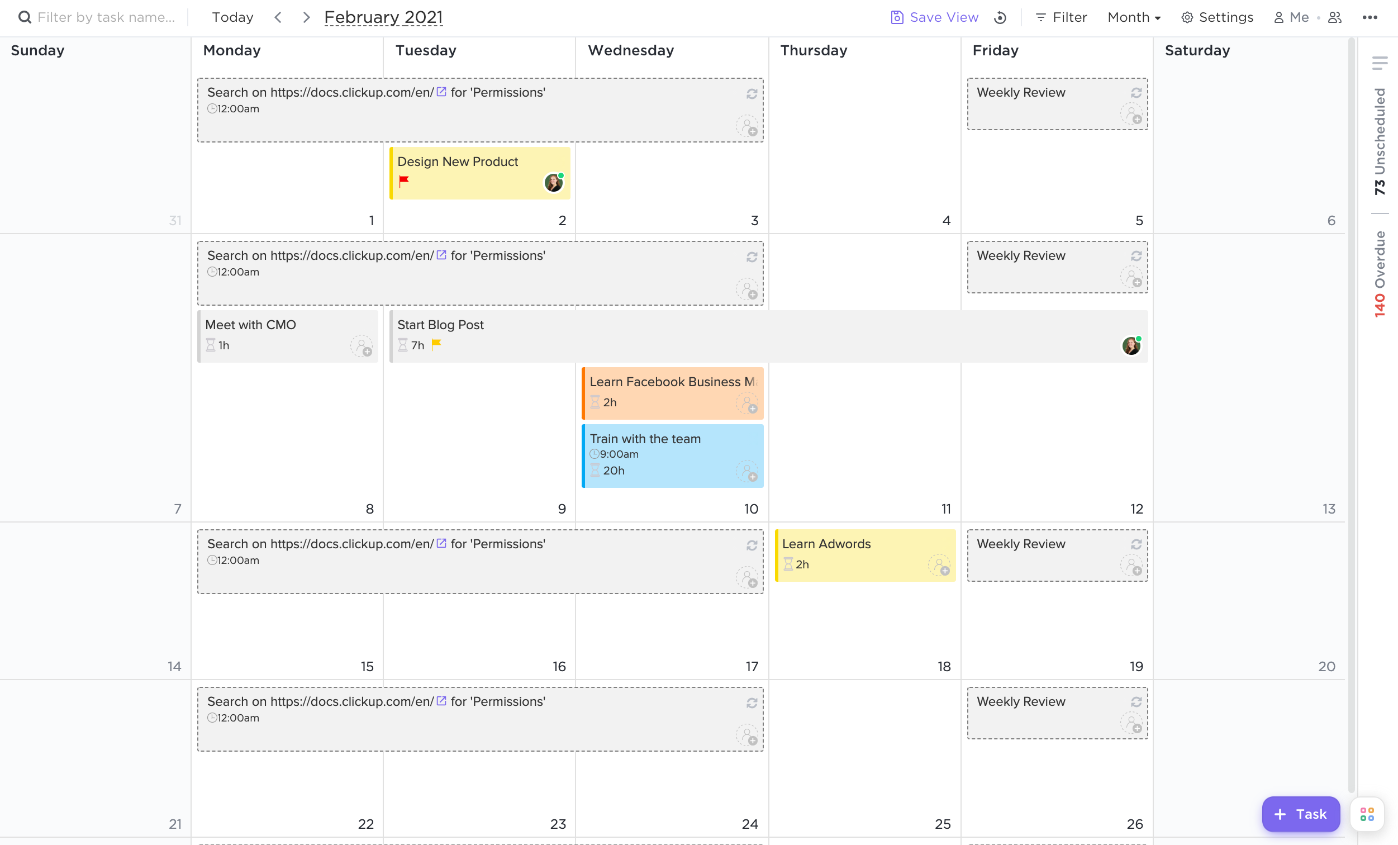 Calendar view after recurring tasks are shown