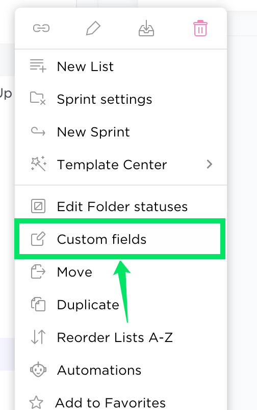 arrow pointing to the Custom fields option