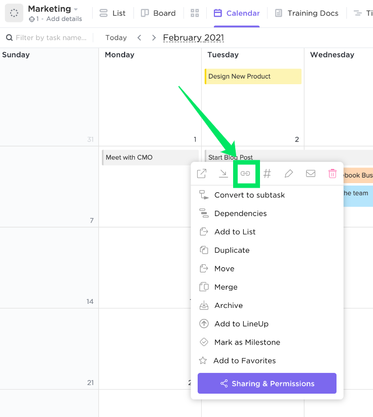 press on the ellipses of a task in Calendar view and then press the URL button