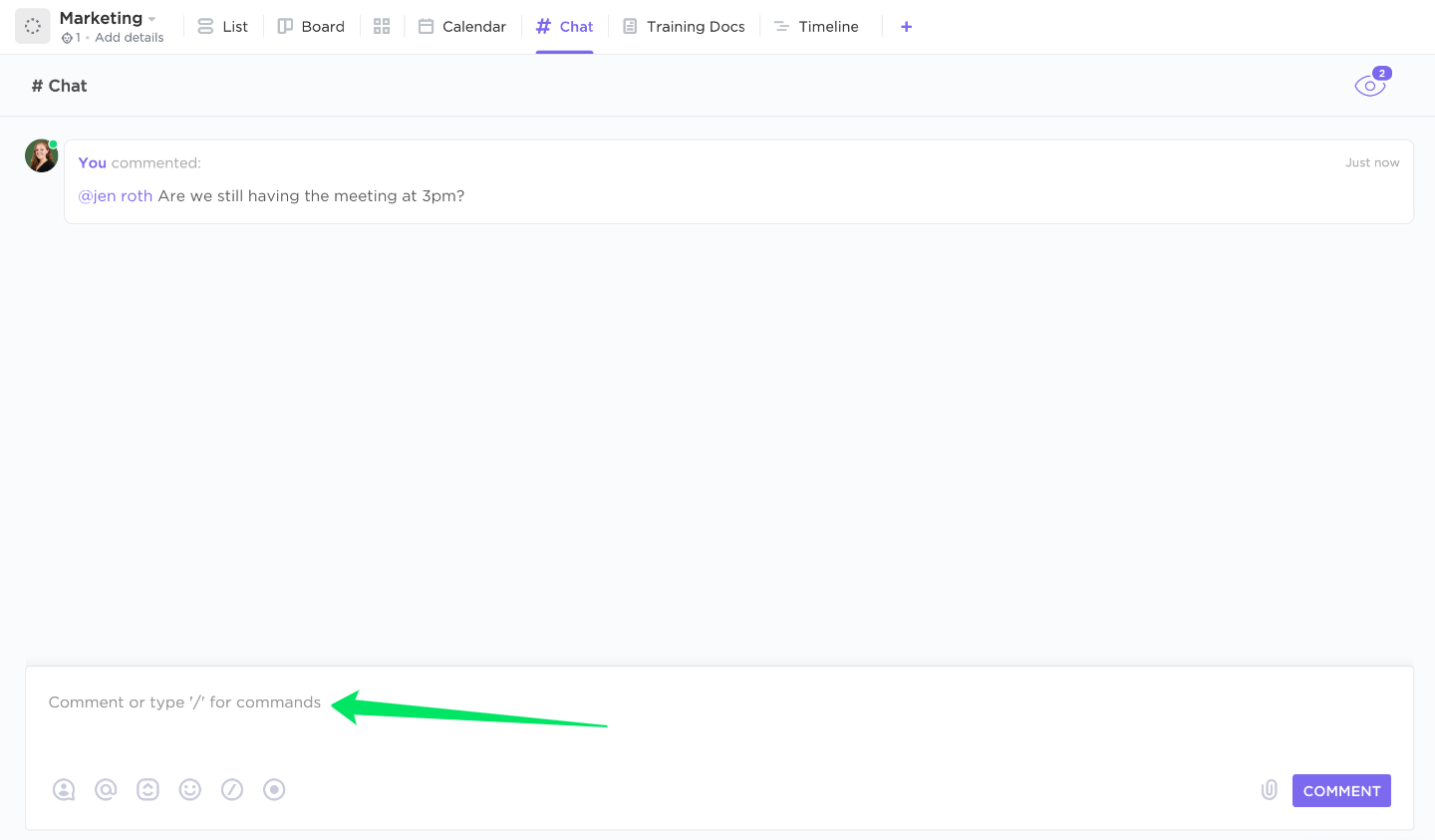 arrow pointing to where you can start a comment in Chat view
