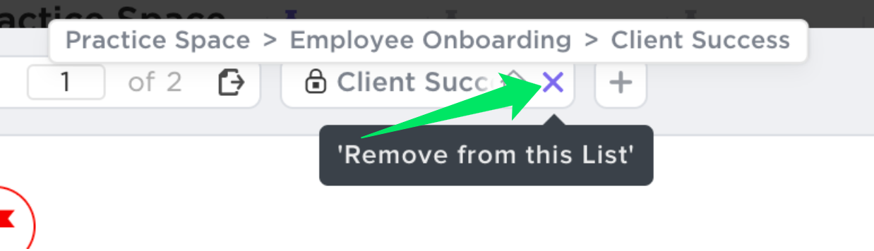 arrow pointing to the 'x' that you press in order to remove a task from a List