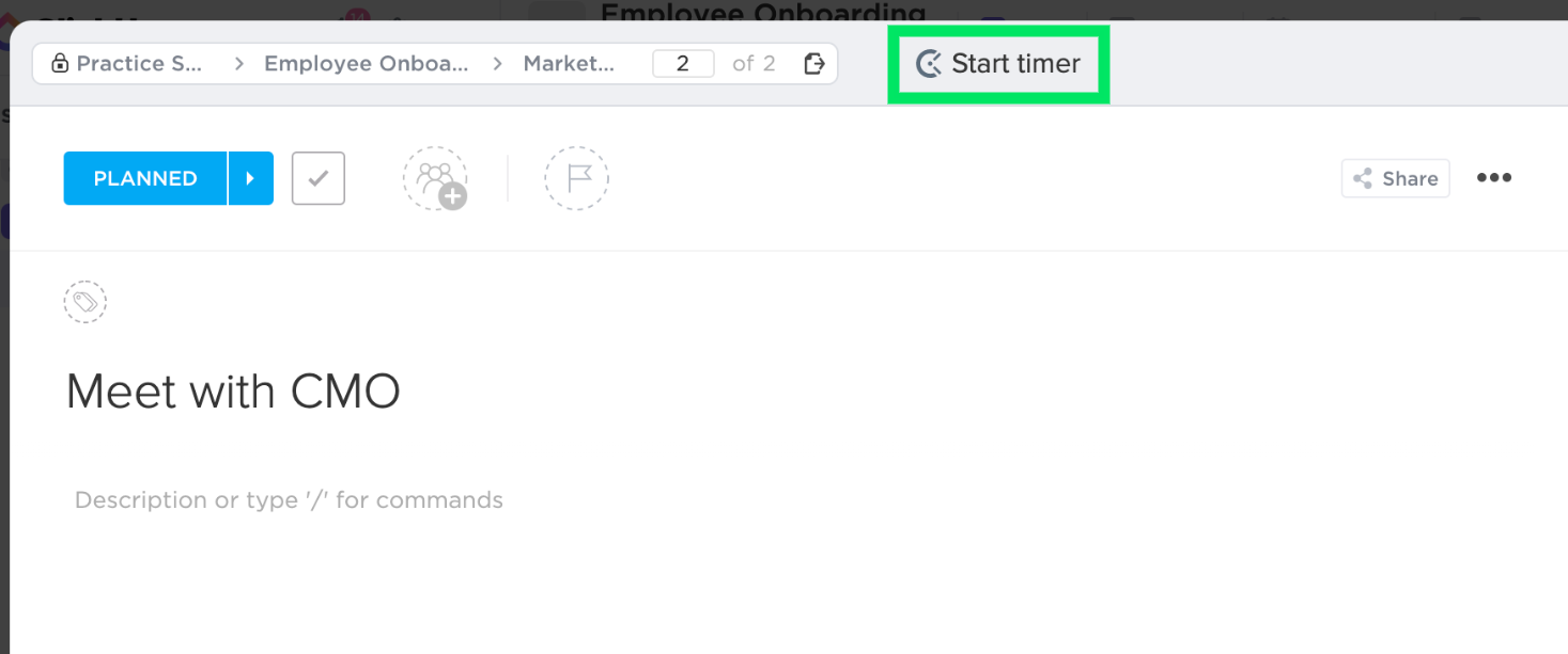 box around the Start Timer button for Clockify