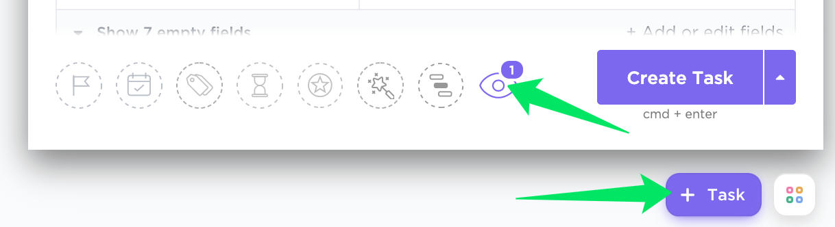 add a watcher by pressing on the eye icon in the Create task window