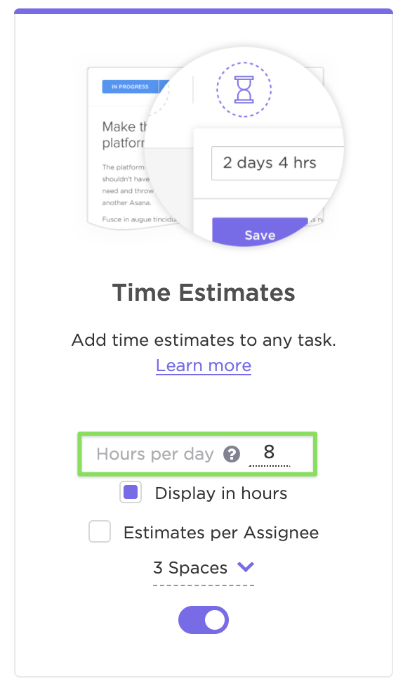 Adjusting the hours per day in the ClickApp settings