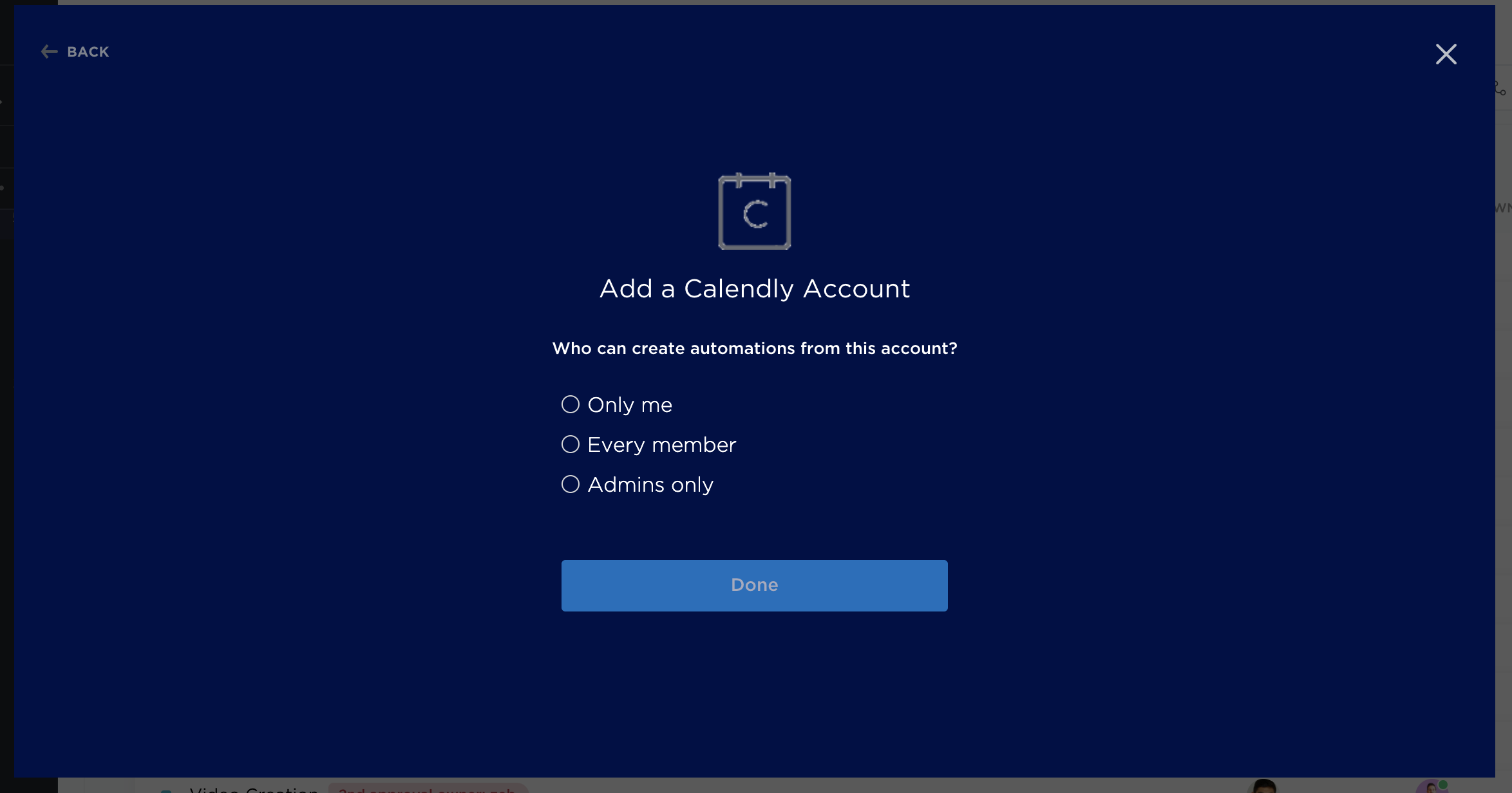 A photo showing who can create automations from your Calendly account