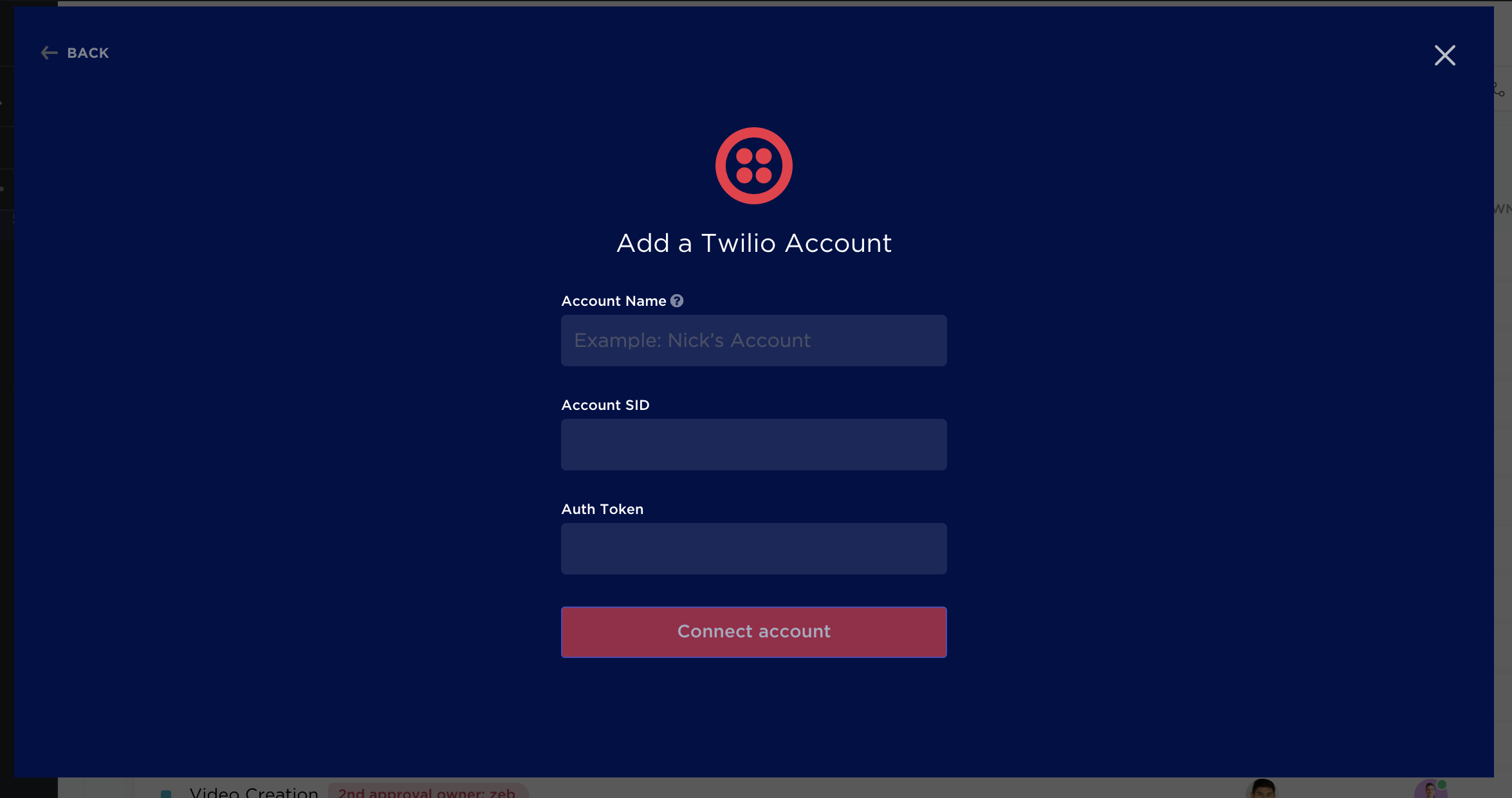 Adding a Twilio account to your Workspace