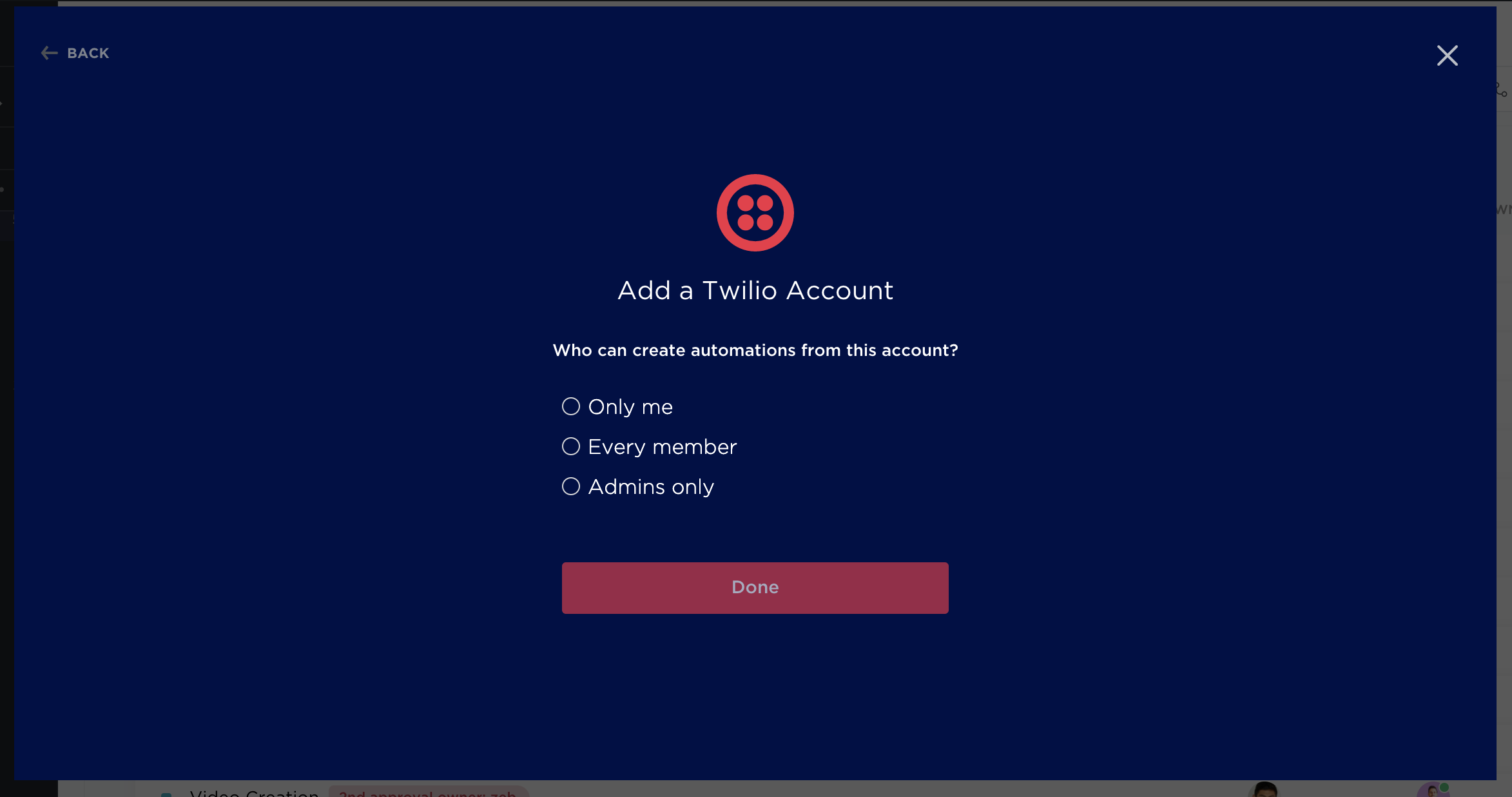 Select who can use this Twilio account with Automations