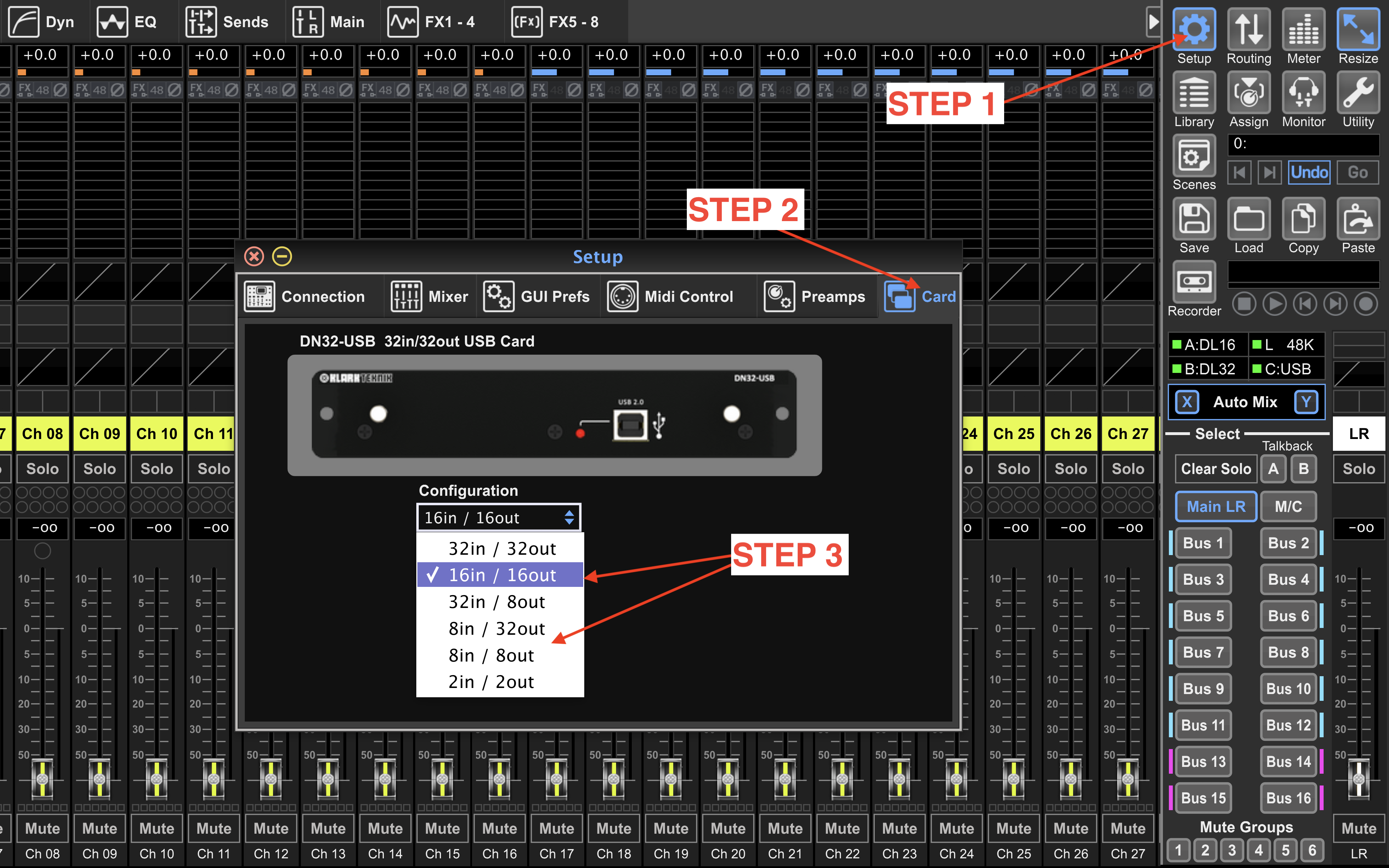 Use M32/X32 Edit software to navigate to Setup -> Card -> Configuration.