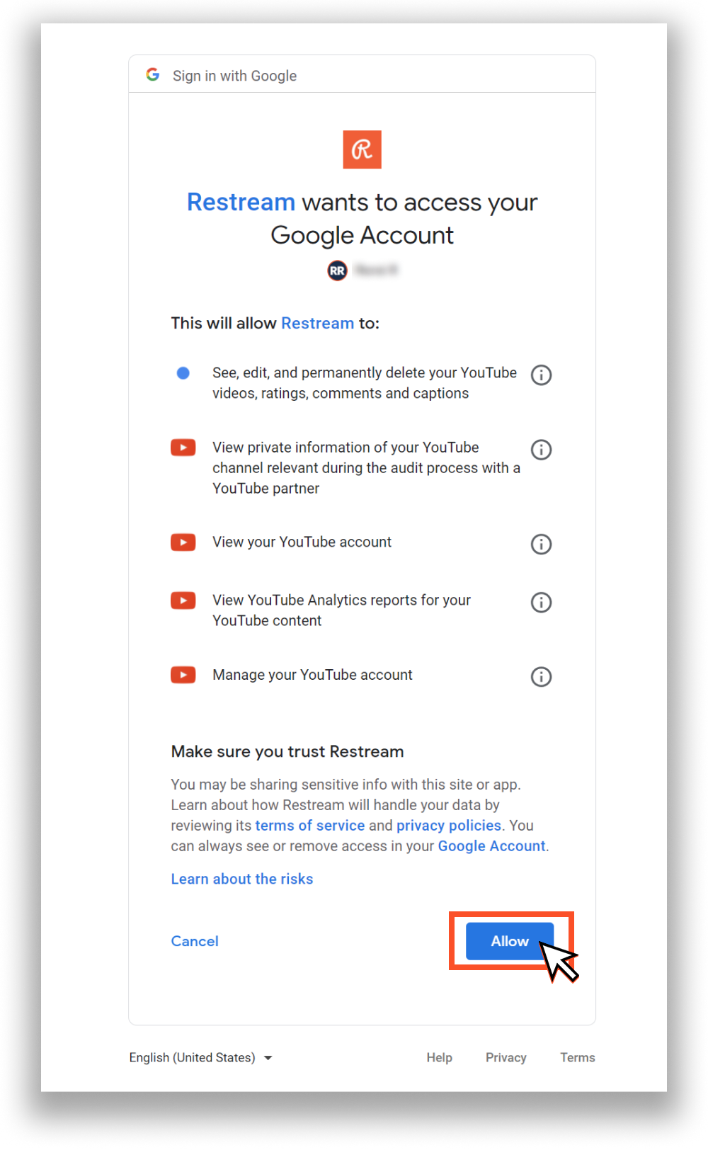 YouTube Auth Page
