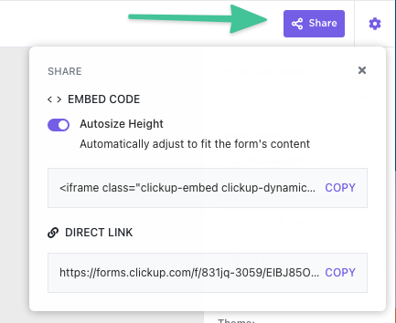 Form Embed options