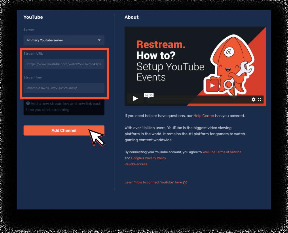 How to paste Stream Key in Restream