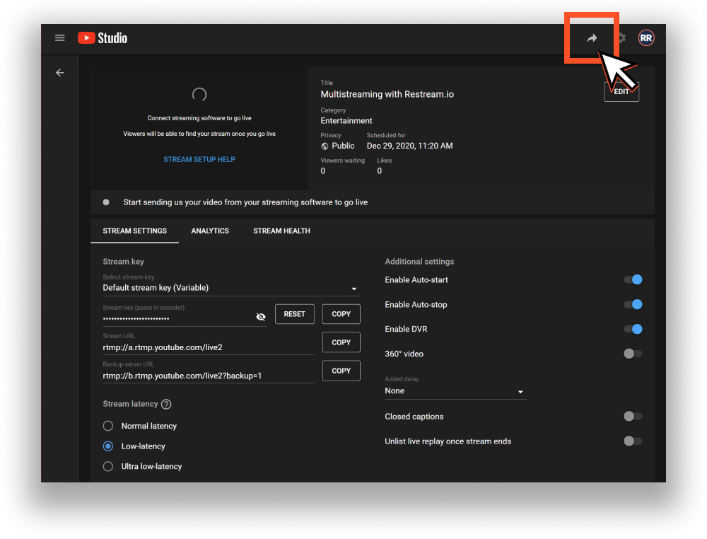 Streams settings in YouTube