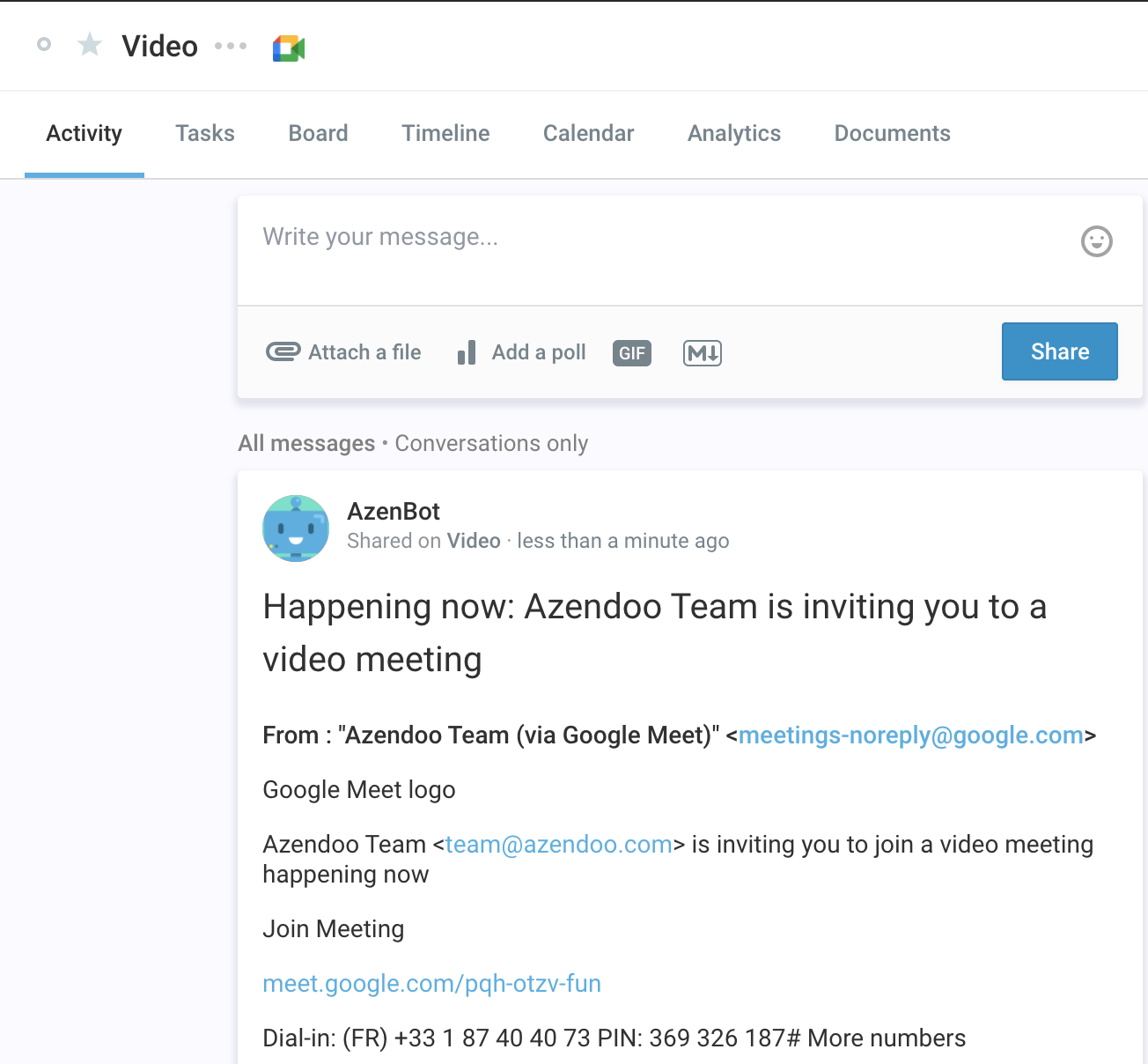 Notification sent to Azendoo Subject's Activity Feed after inviting on Google Meet