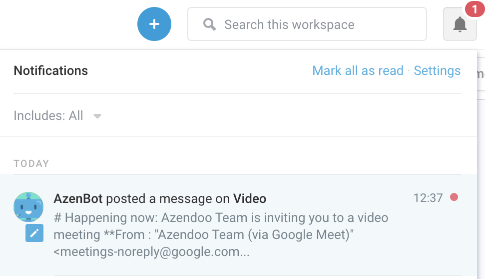 Notifications Center in Azendoo when subject member is invited to join a call