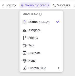 Group by options