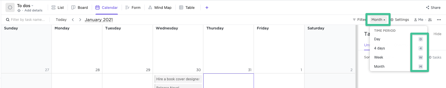 Changing month view in Calendar view