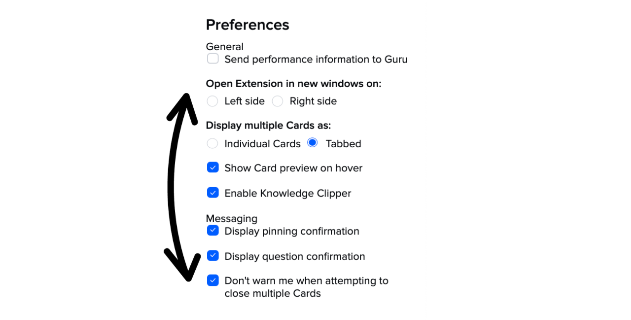 Guru extension preferences menu.