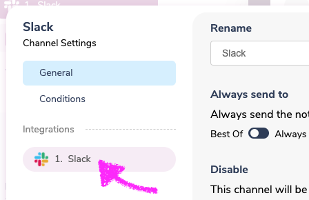 Selecting the Slack Integration
