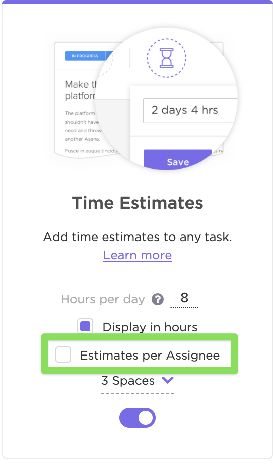 Enabling time estimates per assignee in the ClickApp settings