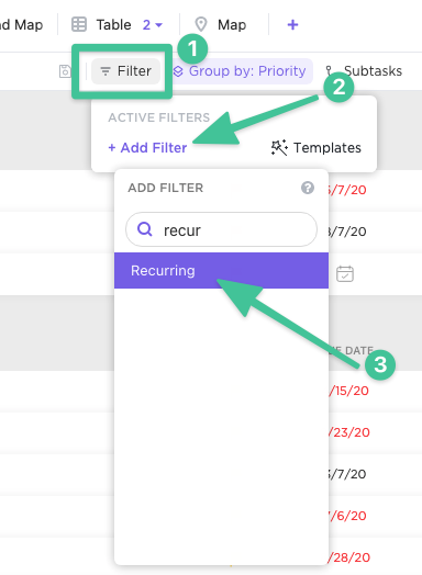 Filter to view recurring tasks