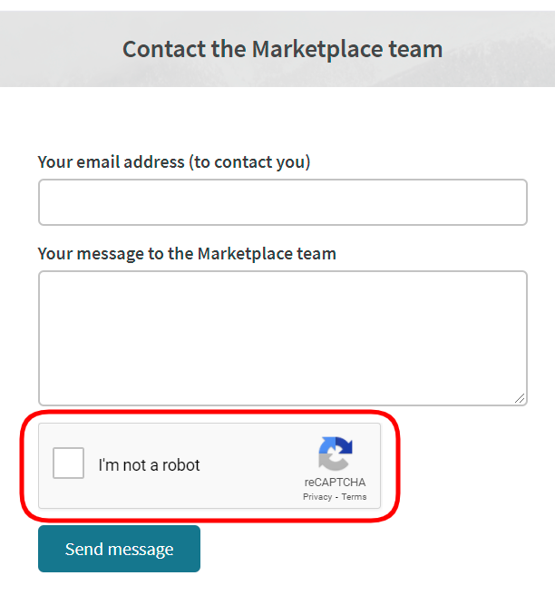 reCAPTCHA on the Contact us page of a Sharetribe Go marketplace