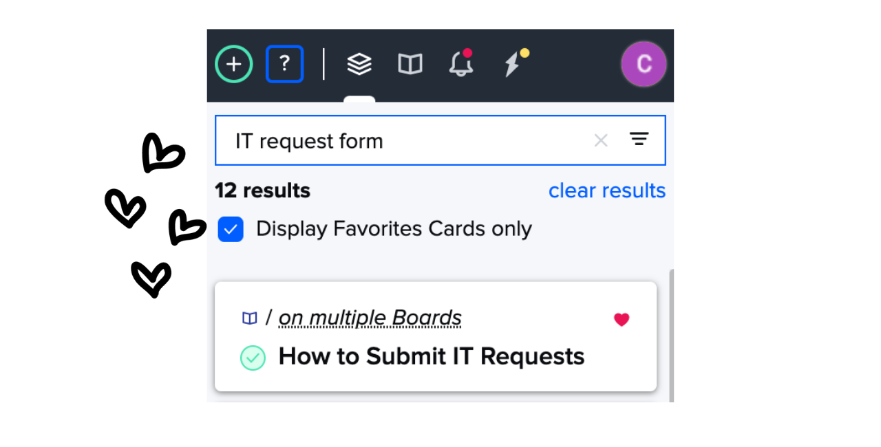 Filtering search by favorite Cards in Guru extension