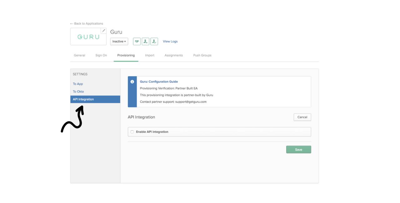 Setting up Okta Push Groups click on API Integration
