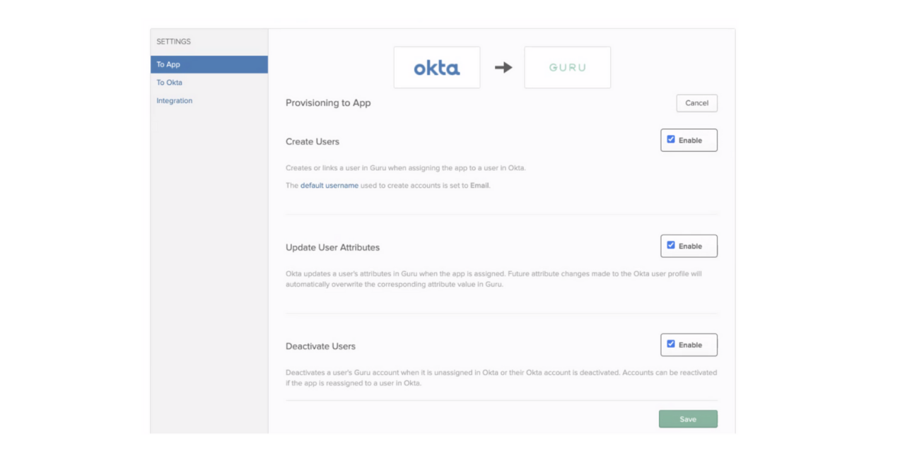 Setting up Okta Push Groups Provisioning to App settings