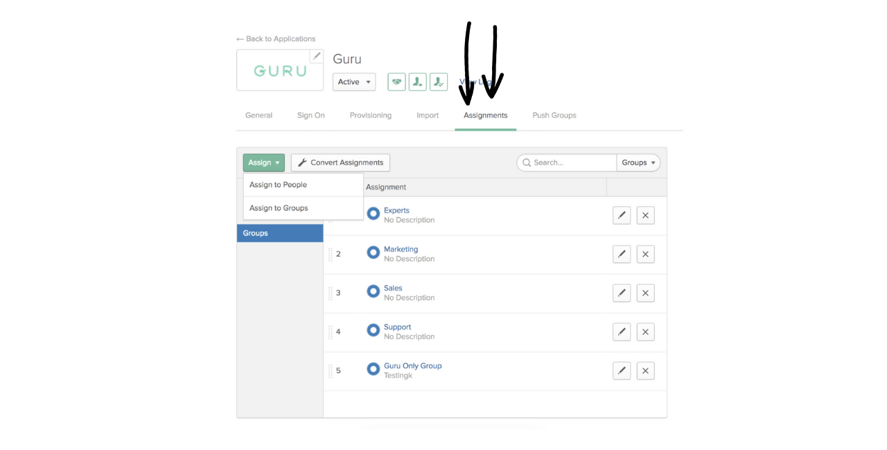 Setting up Okta Push Groups managing Assignments