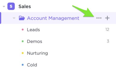 Image showing how to click the ellipsis button next to a Folder in the Sidebar