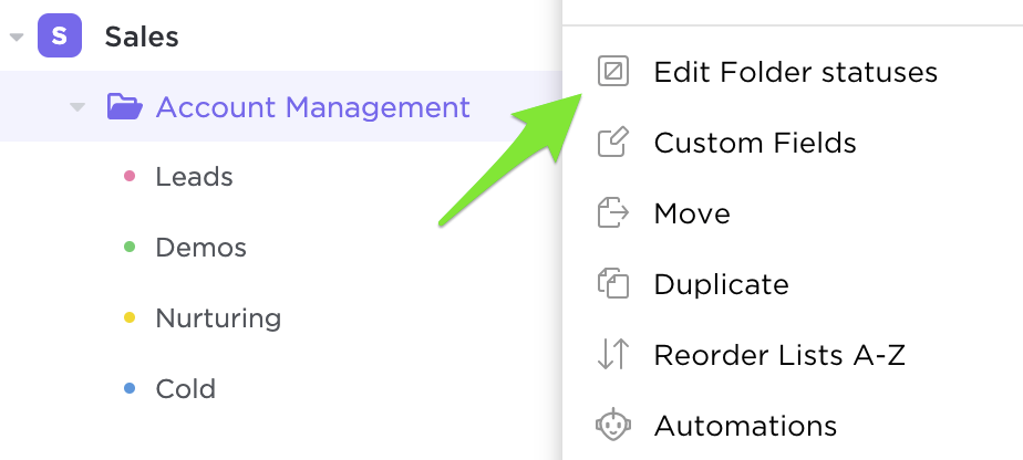 An image showcasing how to edit Folder statuses from the Sidebar