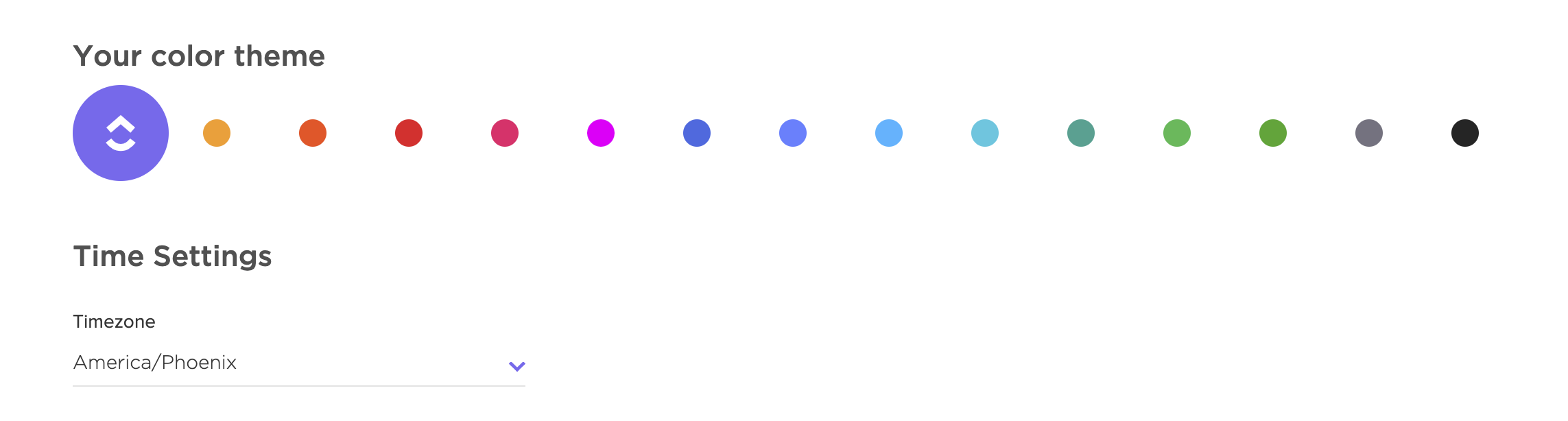 Image showing the color options for your account's color theme