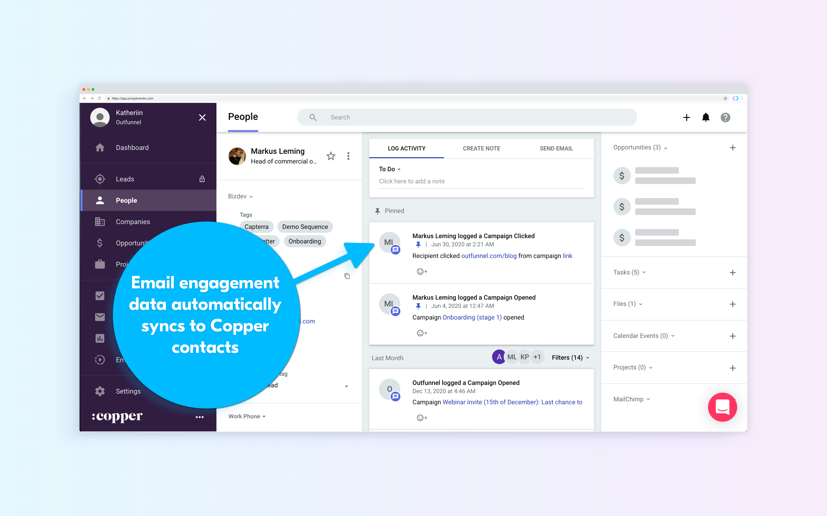 Mailchimp email engagement in Copper