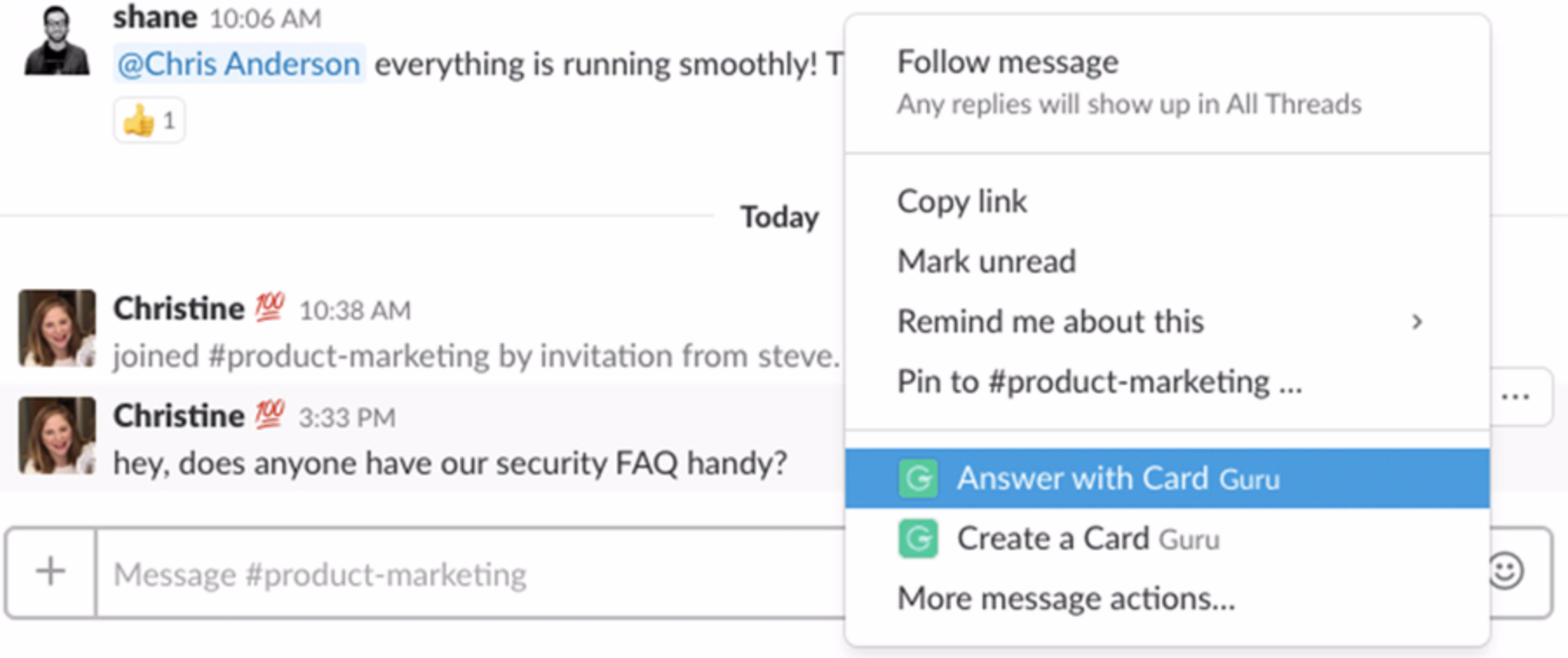 Answer question in Slack with a Card.