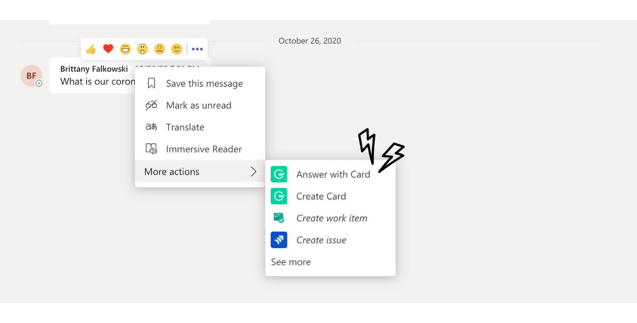 Answer with a Card - Microsoft Teams and Guru