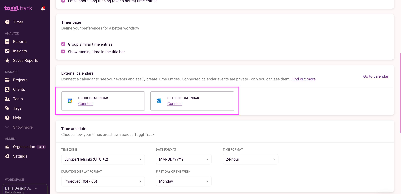 Connect external calendars