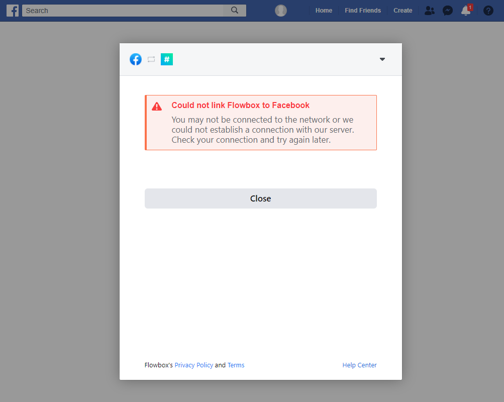 could not link Flowbox to Facebook