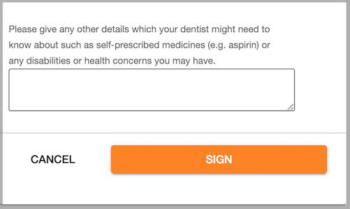 Dentally Patient Portal Sign Medical History