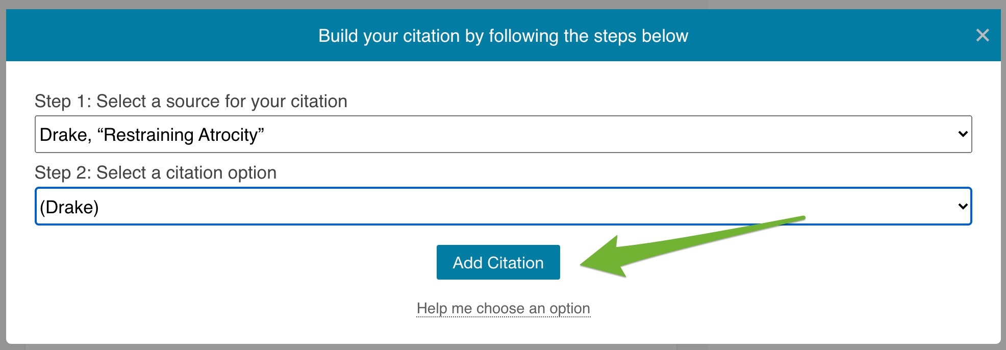 """Completed citation builder with an arrow pointing to the """"Add Citation"""" button."""