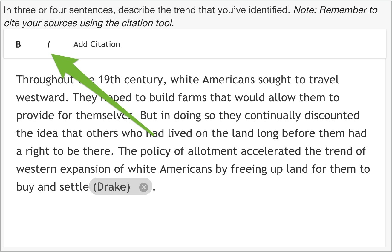 An arrow pointing to bold and italics options at top of writing template.