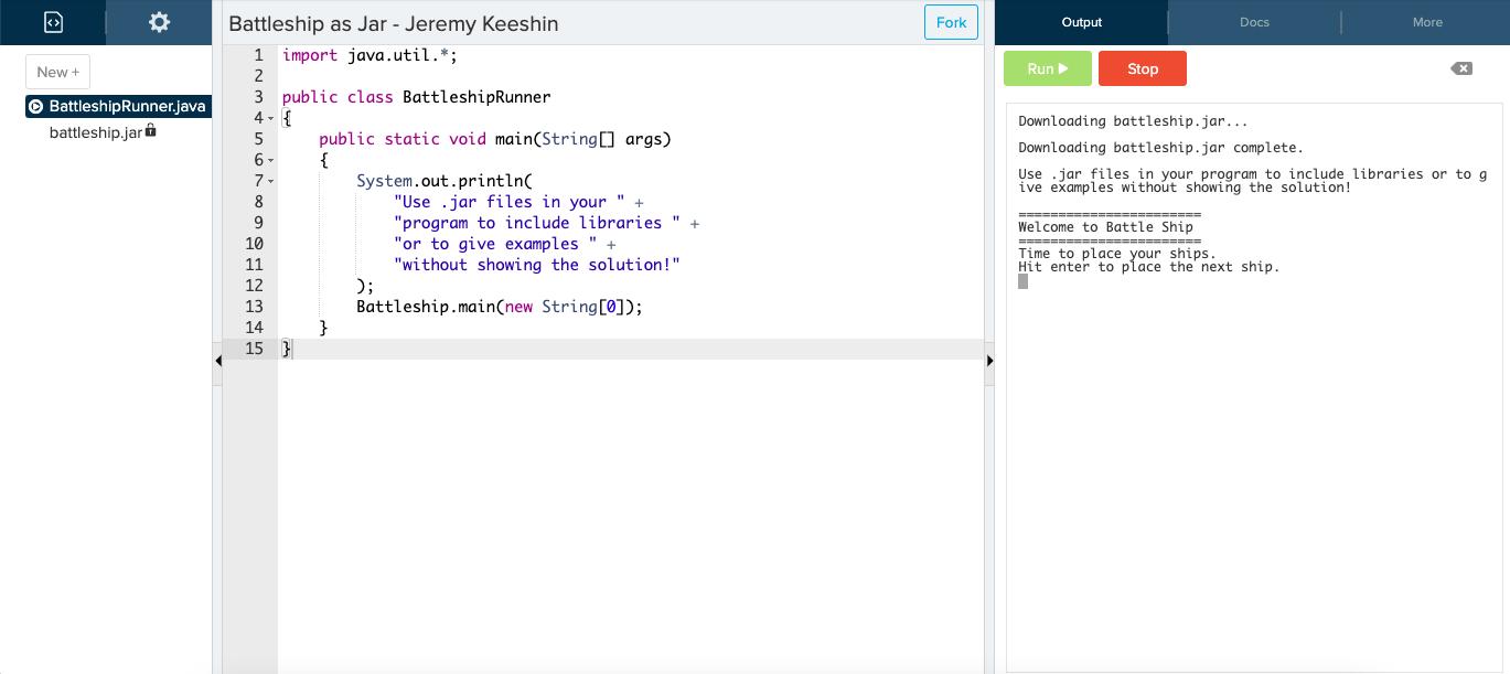 Screenshot of a demo Java .jar file in the CodeHS Sandbox