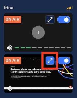 Full-screen mode in Restream Studio