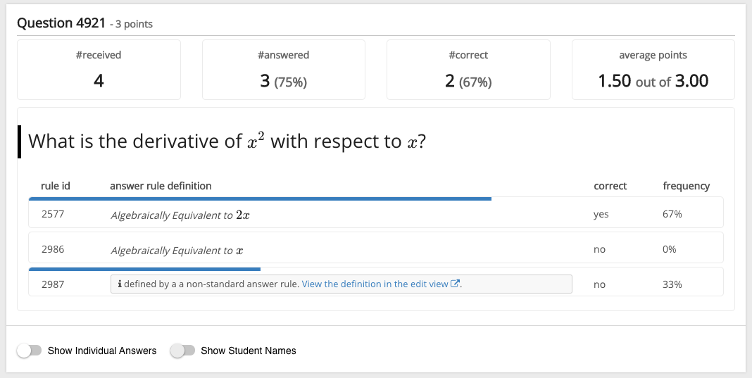Test question analytics of an open math question for teachers in Grasple test result page.